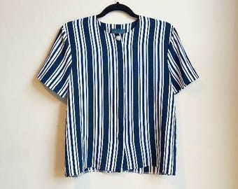 Vertical Stripe Vintage Blouse Blue and White Pearl Statement Button Up Women's Ladies Stripe Shirt Top Short Sleeve 90s Small Medium