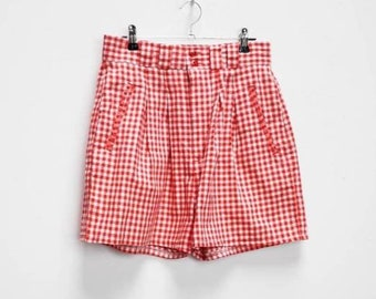 6951fa8e98 Red Gingham Shorts Vintage Red Check Shorts Vintage Gingham High Waisted  Shorts Women's Red Checkered Shorts High Waist Vintage Gingham Red