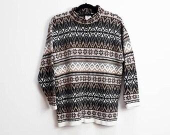 c923a9813 Icelandic Sweater Vintage Fairisle Jumper Vintage High Neck Sweater Large  Icelandic Pattern Sweater Vintage High-Neck Pullover Patterned Top