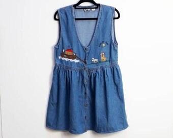 89560605605c Denim Dress Vintage Smock Dress Vintage Denim Smock Dress Noah s Ark  Embroidery Vintage Noah s Ark Dress Vintage Button Down Denim Dress