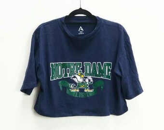 f4f4737d77125b Notre Dame Crop Top Vintage Notre Dame T-Shirt Vintage Reworked Crop Tee Notre  Dame University T Shirt American College Top Sports T-Shirt