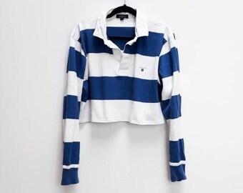c6f5361eb54 Stripe Rugby Crop Shirt Vintage Blue Striped Polo Shirt Vintage Cropped  Polo Top Vintage Striped Polo Shirt Cropped Vintage Rugby Crop Top