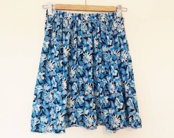 Blue Floral Mini Skirt Vintage High Waisted Floral Skirt Pleated High Waisted Vintage Blue Floral Print Short Skirt Women's Flower Skirt