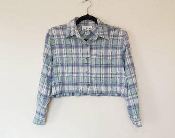 Cropped Plaid Flannel Vintage Shirt Crop Top Blue and Green Flannel Up Blouse 90s Grunge Reworked Vintage Flannel Shirt Long Sleeve Check