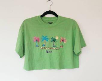 Hawaii Graphic Crop T-Shirt Vintage Cropped Tee Bright Green Crop Top Short Sleeve Women's Hawaii Maui Graphic T-Shirt Retro Tee