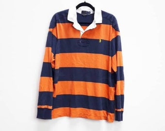 a3290e842 Ralph Lauren Stripe Rugby Shirt Orange Striped Rugby Shirt Vintage Navy  Stripe Polo Shirt Ralph Lauren Striped Rugby Polo Shirt Orange XL