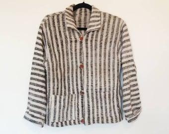 Stripe Knit Jacket Vintage Thin Jacket Vintage Vertical Stripe Blazer Vintage Thin Knitted Jacket Long Sleeve Blazer Style Jacket Button Up