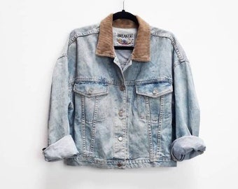 e4174717e2 Blue Denim Jacket Vintage Corduroy Collar Denim Jacket Vintage Blue Denim  Jacket Cord Collar Vintage Light Blue Denim Contrast Collar Coat M