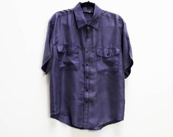 e912363ed4a5f Purple Silk Shirt Vintage Silk Button Up Blue 100% Silk Button Down Shirt  Vintage Short Sleeve Silk Shirt Purple Medium Vintage Button Up M