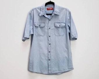 ca20741183 Wrangler Denim Shirt Vintage Blue Short Sleeve Denim Shirt Vintage Blue Wrangler  Chambray Shirt Vintage Wrangler Button Down Denim Shirt