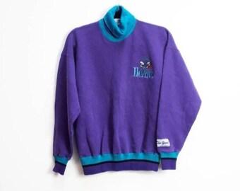 1b617474898 Charlotte Sweatshirt Vintage Purple Sweatshirt Vintage Charlotte Hornets  Sweatshirt Embroidered Sweatshirt Vintage Charlotte City Sport Top