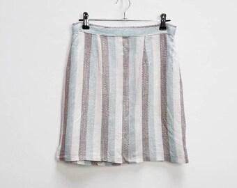 f6380d6770 Stripe Skirt Vintage Striped High Waisted Skirt Vintage Stripe Mini Skirt  Women's Vertical Stripe Skirt High Waist Mini-Skirt Vintage Blue