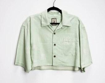 Leaf Pattern Long Sleeve Womens Blouse Greens Browns