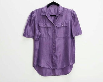 38a32046 Purple Silk Shirt Vintage Silk Button Up Purple 100% Silk Button Down Shirt  Vintage Short Sleeve Silk Shirt Purple Blouse Vintage Button Up