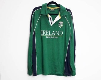 e45229eb9 Irish Rugby Shirt Vintage Green Rugby Top Vintage Ireland Rugby Polo Shirt  Vintage XXL Irish Rugby Top Green Ireland Rugby Polo Shirt XXL