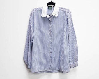 40693198 Blue Stripe Blouse Vintage White Collar Shirt Vintage Blue Pinstripe Blouse  Vintage White Embroidered Collar Button Down Shirt Stripe Top XL