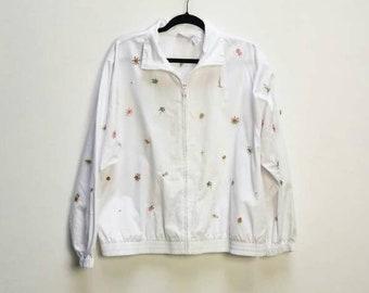 9d2396c4835e Embroidered Jacket Vintage White Jacket Floral Embroidery Women s Vintage  Jacket Coat White Outerwear Vintage Flower Embroidered Jacket