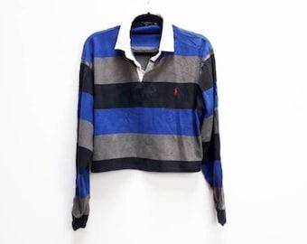 5c0497d3681f00 Ralph Lauren Stripe Crop Top Vintage Ralph Lauren Crop Rugby Shirt Vintage  Blue Striped Ralph Lauren Rugby Crop Top Vintage Cropped Rugby