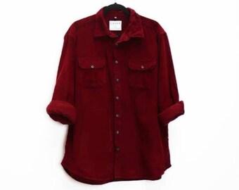 Red Corduroy Shirt Vintage Red Cord Shirt Corduroy Button Down Shirt Medium Men/'s Cord Button Down Vintage Red Button Down Corduroy Shirt M