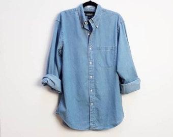 6c356f00a1 Blue Denim Shirt Vintage Blue Chambray Button Up Shirt Vintage Blue  Chambray Denim Button Down Shirt Vintage Blue Denim Medium Button Up Top