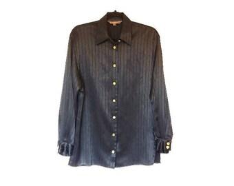 Black Vintage Blouse Vertical Stripe Shiny Silk Style Black Shirt Long Sleeve Women's Retro Blouse Striped Black Shirt Monochrome Top