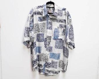 838939113d810a Patterned Silk Shirt Vintage Blue Patterned Short Sleeve Shirt Vintage  Extra Large Silk Shirt Vintage Patterned Silk Button Up Short-Sleeve
