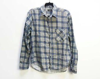 Blue Plaid Shirt Vintage Flannel Shirt Blue and Brown Checkered Shirt Men's Large Flannel Shirt Vintage Button Down Plaid Shirt Oversized