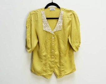 Yellow Blouse Vintage Lace Collar Blouse Vintage Lace Peter Pan Collar Shirt Yellow Polka Dot Pattern Button Up Top Women's Vintage Yellow
