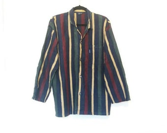 Vertical Stripe Shirt Vintage Navy Button Down Rainbow Stripe Shirt Men's Vintage Large Button Up Shirt Vertical Stripes Multicoloured Shirt