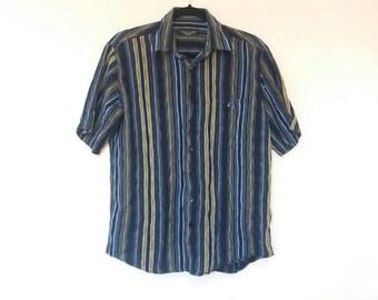 Stripe Shirt Vintage Navy Vertical Stripe Button Up Shirt Men's Vintage Blue Striped Button Down Top Short Sleeve Navy and Yellow Stripe Top