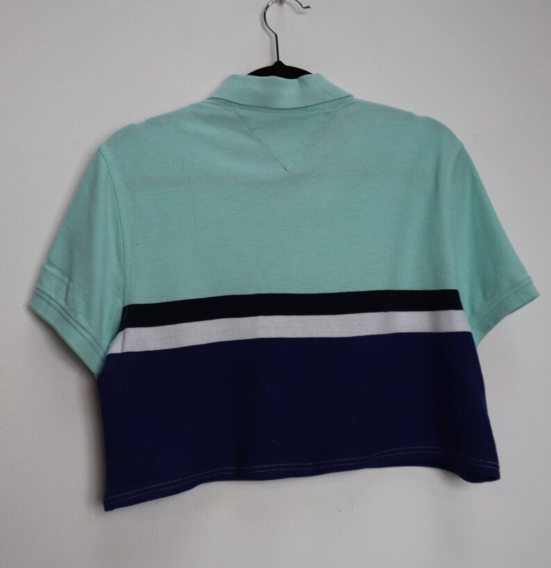 Tommy Hilfiger Crop Top Vintage Cropped Polo Top Blue Stripe Crop Top Stripe Tommy Hilfiger Cropped Polo Top Vintage Striped Crop Top Large