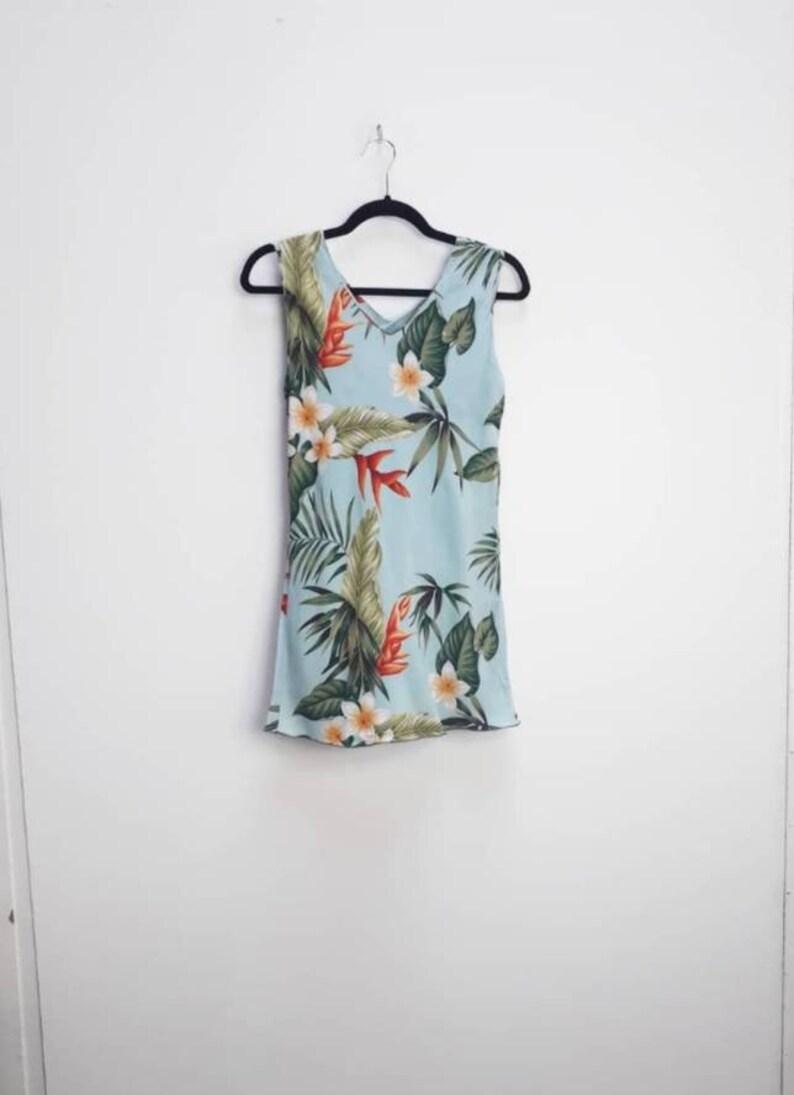 Hawaiian Floral Dress Vintage Tropical Print Dress Small Hawaiian Mini-Dress Blue Tropical Floral Mini Dress Vintage Hawaiian Dress Small S