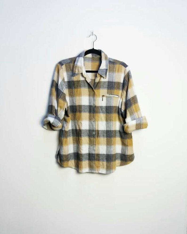 f7313d4def5 Check Flannel Shirt Vintage Brown Plaid Flannel Vintage Grey Checkered  Shirt Button Up Large Brown Check Plaid Shirt Button Down Checkered