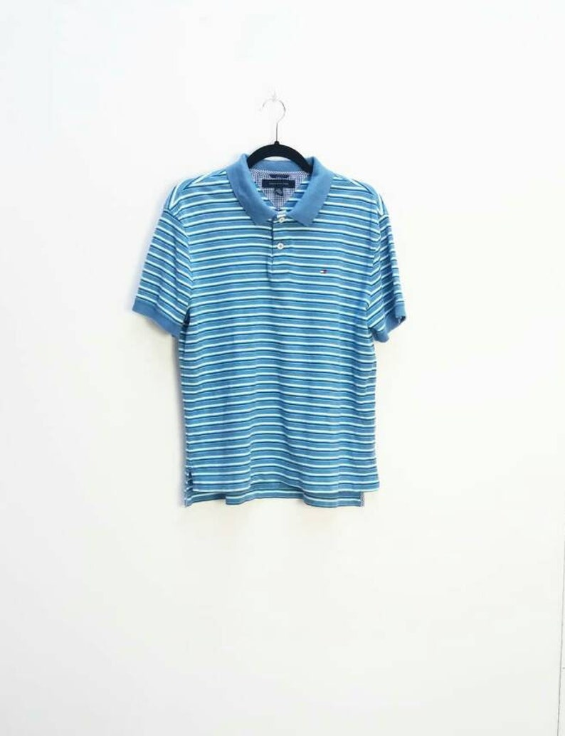 b20659b3c Tommy Hilfiger Polo Top Vintage Blue Stripe Tommy Hilfiger