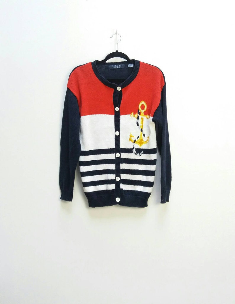 Nautical Cardigan Vintage Anchor Knit Cardigan Vintage Sweater  5d79914d0