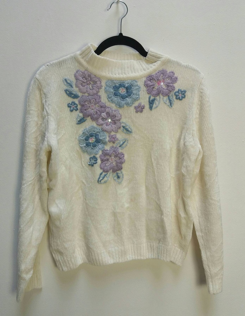 Embroidered Chenille Jumper Vintage White Chenille Sweater Knit Floral Embroidery Purple Lilac Blue Flower Embroidered Chenille Jumper White