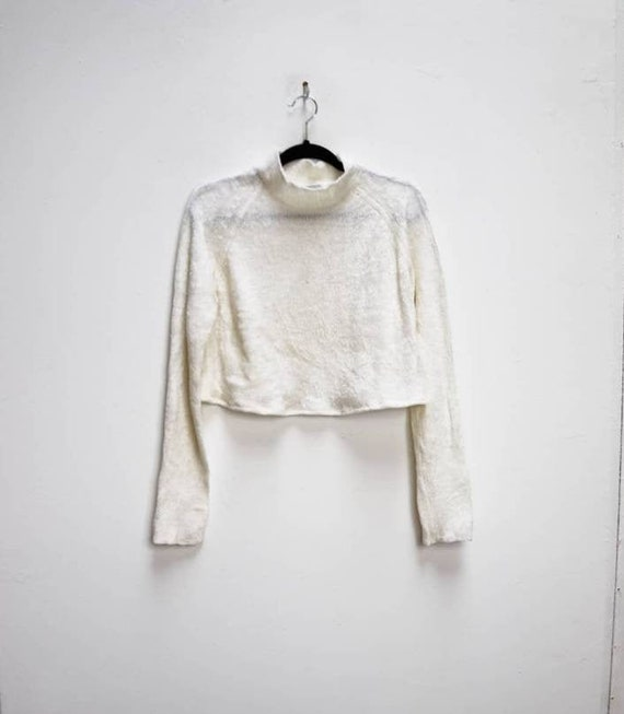 Cropped Chenille Jumper Vintage White Chenille Swe
