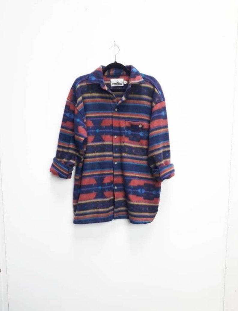 Patterned Shirt Vintage Patterned Fleece Button Down Shirt Vintage Blue Patterned Soft Fleece Shirt Vintage Red Patterned Button Up Shirt