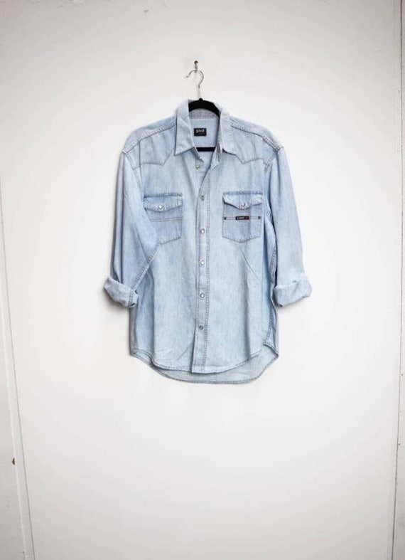 Blue Denim Shirt Vintage Light Blue Denim Shirt La