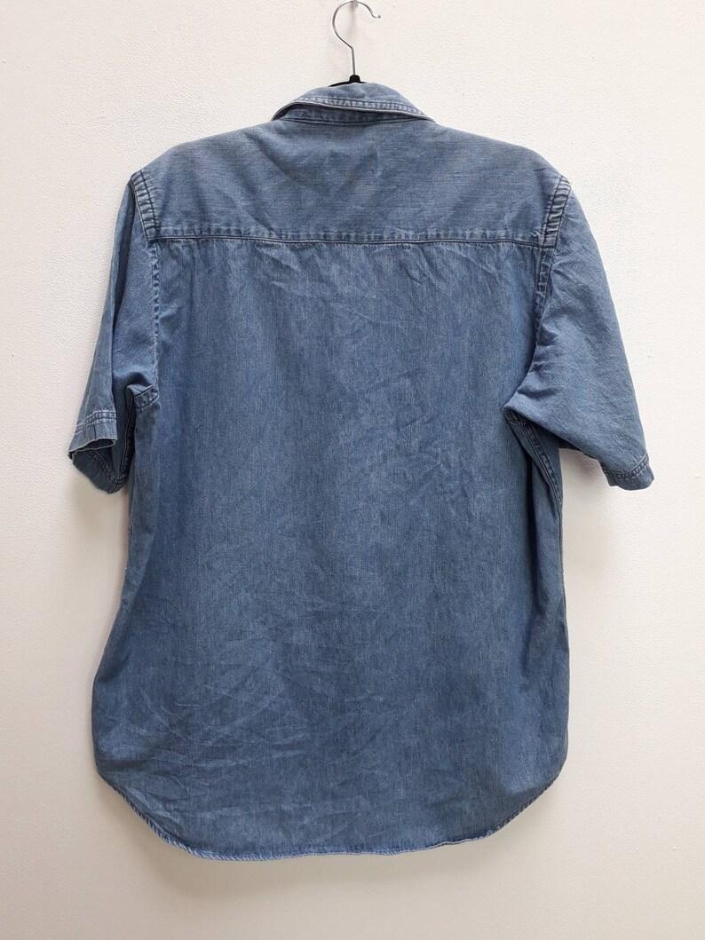 Short Sleeve Denim Shirt Vintage Blue Denim Button Down Shirt Vintage Blue Chambray Denim Shirt Vintage Short Sleeve Denim Button Up Medium