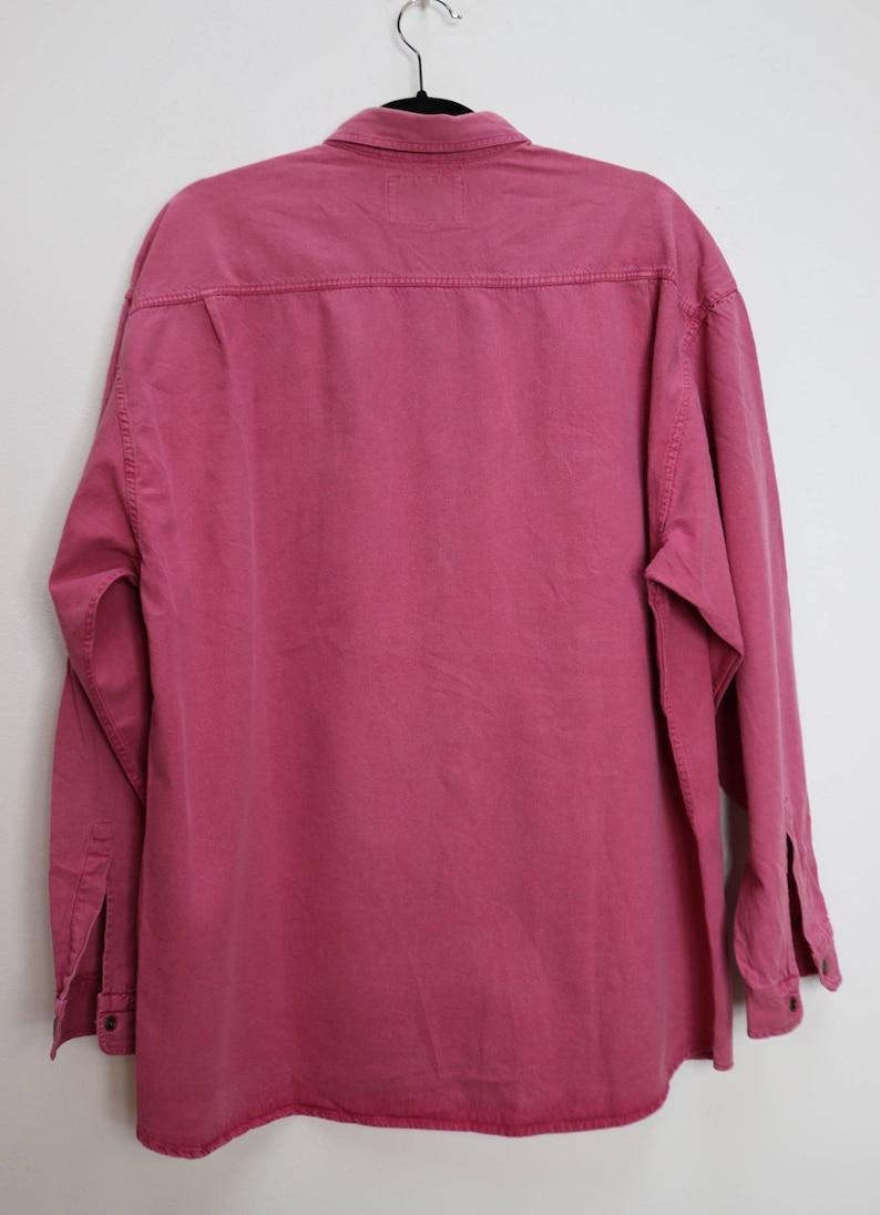 Pink Denim Shirt Vintage Bright Pink Chambray Shirt Oversize Denim Shirt Pink Chambray Button Down Shirt Vintage XXL Denim Button Up Shirt