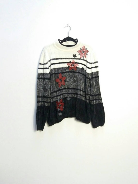 Embroidered Chenille Jumper Vintage Chenille Knit