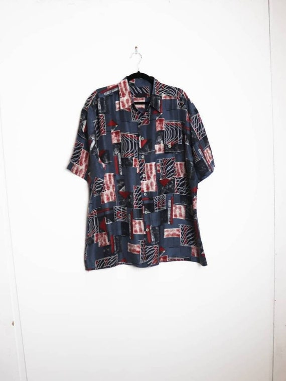 Patterned Silk Shirt Vintage Silk Short Sleeve Shi