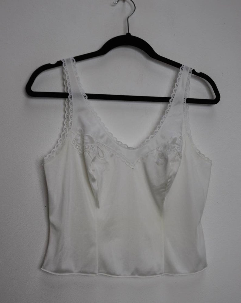 Sheer White Crop Top Vintage Lace Cropped Cami Top Small White Lacy Crop Top Vintage Sheer Cropped Camisole Top White Lace Crop Cami Top S
