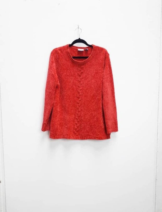 Red Chenille Jumper Vintage Red Chenille Sweater L