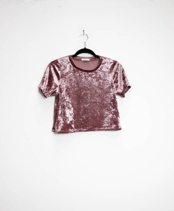 Pink Velvet Crop Top Vintage Crushed Velvet Top Ba