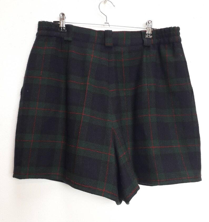 Navy Plaid Shorts Vintage Blue Plaid Wool Shorts Vintage High Waisted Shorts Vintage Green Plaid Shorts L Vintage Wool Check Plaid Shorts L