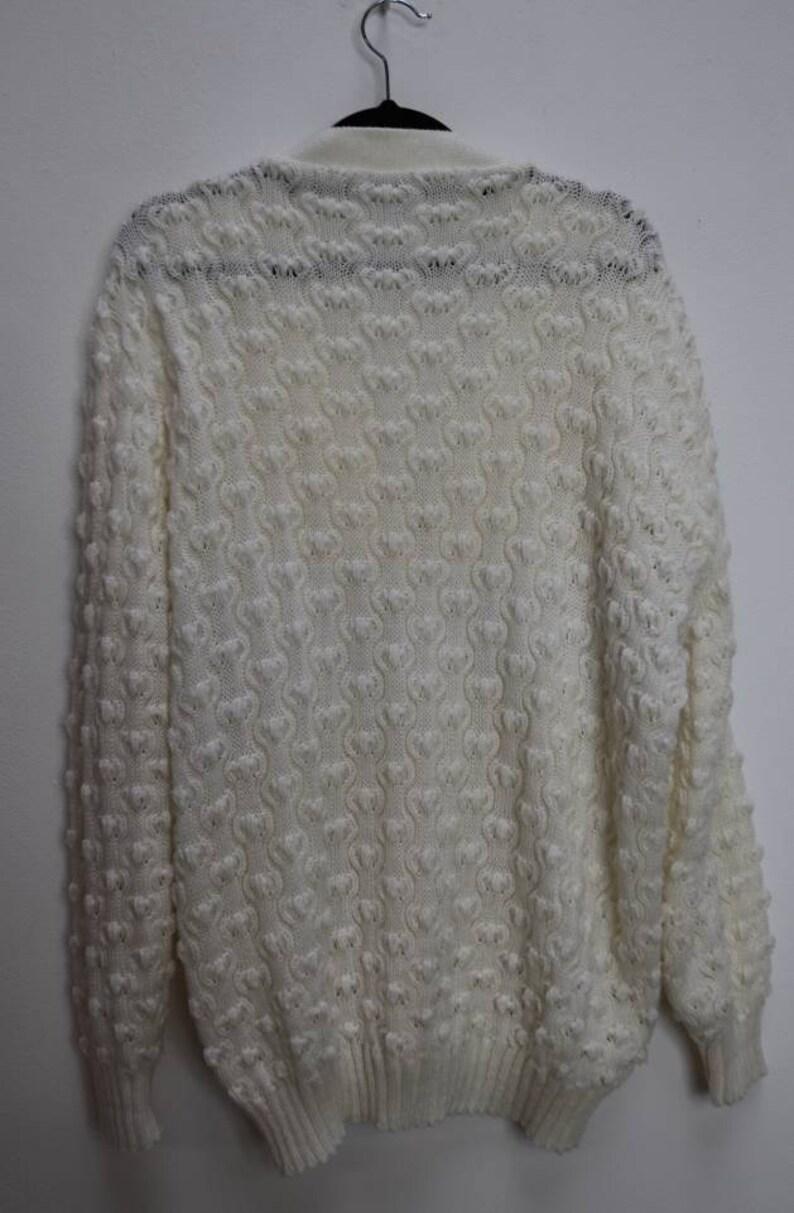 White Cardigan Vintage White Knit Cardigan Button Up Sweater Soft White Cardigan Vintage Medium Cardigan Women/'s Comfy White Knit Sweater M