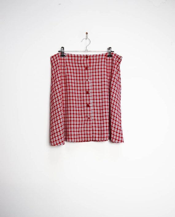 Red Checkered Mini Skirt Vintage Button Down Skirt