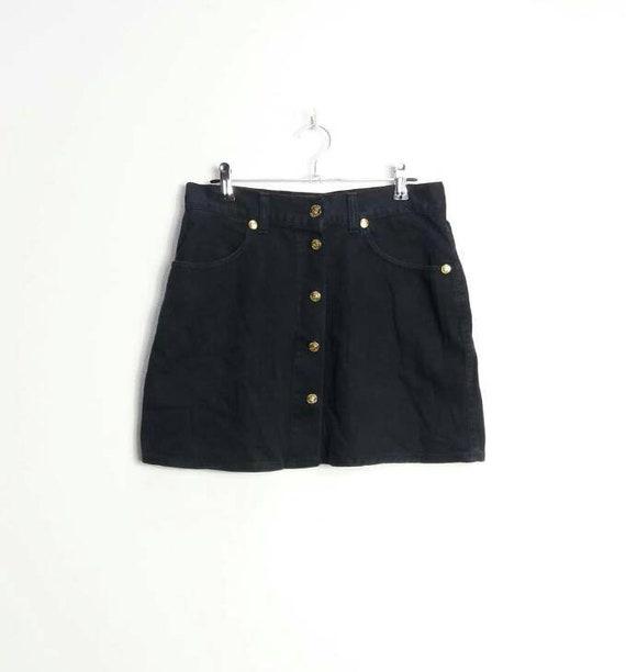 Button Down Denim Skirt Vintage Black Denim Mini Skirt High  18e7fd5f98